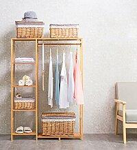 Schrank-Typ Einfache Massivholz-Kleiderständer Kleiderbügel Landung Schlafzimmer Kleider Regale Lagerung Rack Garderoben Kleiderschrank Garderobe