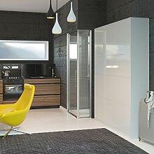 Schrankbett 140cm Vertikal Weiß Hochglanzfront mit SMART Punkt Kaltschaummatratze 140x200cm, ideal als Gästebett - Wandbett, Schrank mit integriertem Klappbett, SMARTBe