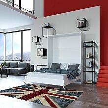 Schrankbett 160x200 weiss mit Gasdruckfedern, ideal als Gästebett - Wandbett, Schrank mit integriertem Klappbett, SMARTBe