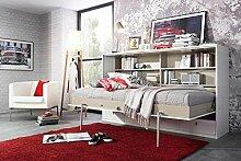 Schrankbett 90x200 Liegefläche in Weiß, Wandbett