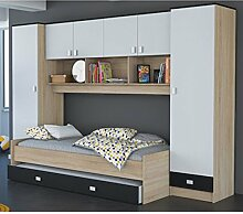 Schrankbett akazie grau / weiß / schwarz B 308 cm