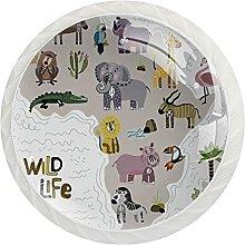 Schrankknäufe, afrikanisches Wildleben, rund,