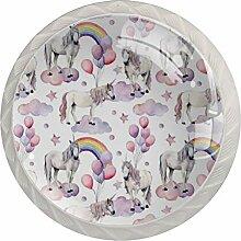 Schrankknäufe aus ABS-Glas, Regenbogen-Einhorn, 4