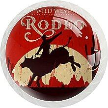 Schrankknäufe Cowboy, rund, Kristallglas,