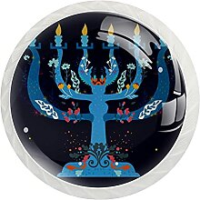 Schrankknäufe, dunkelblau, rund, Kristallglas,