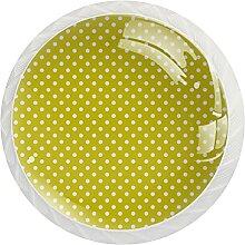 Schrankknäufe, Punktemuster, gelb, rund,