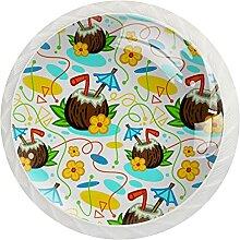 Schrankknäufe, tropisches Kokosnuss-Motiv, rund,