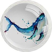 Schrankknöpfe, Ästhetischer Blauwal, rund,