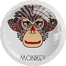 Schrankknöpfe, Ästhetisches Affengesicht, rund,