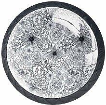 Schrankknöpfe aus ABS-Glas, Blumendesign, rund,