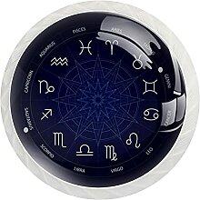 Schrankknöpfe, Sternzeichenrad, Galaxie, rund,