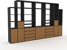 Schrankwand Eiche - Moderne Wohnwand: Schubladen