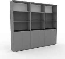 Schrankwand Grau - Moderne Wohnwand: Türen in