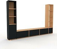 Schrankwand Schwarz - Moderne Wohnwand: Türen in