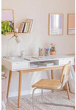 Schreibtisch aus Holz Baldri Weiss Sklum