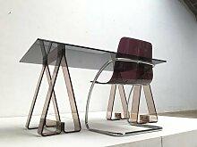 Schreibtisch aus Rauch Acryl und Glas mit Stuhl