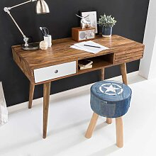 Schreibtisch aus Sheesham massiv Retro Design