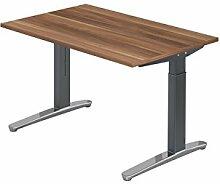 Schreibtisch C-Fuß 120x80cm Zwetschge Graphi