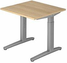 Schreibtisch C-Fuß 80x80cm Eiche/Silber