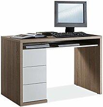 Schreibtisch Computertisch Arbeitstisch MORTEN 2 | Eiche Sonoma | Weiß Hochglanz