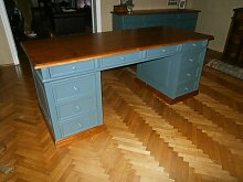 Schreibtisch freistehend blau / braun Landhausstil