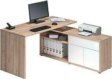 Schreibtisch Kombination in Buche Weiß Hochglanz