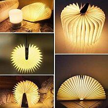 Schreibtisch-Lampe aus Holz, zusammenklappbar,