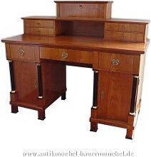 Schreibtisch mit Aufsatz+Säulen Kirschbaum