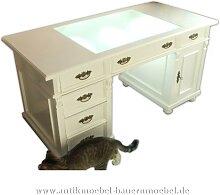 Schreibtisch mit Glaseinsatz weiß Landhausstil