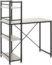 Schreibtisch mit Regal Beton Grau und Schwarz