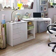 Schreibtisch mit Schrank Hochglanz Weiß
