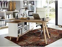 Schreibtisch Oslo mit Sideboard Eiche Weiss