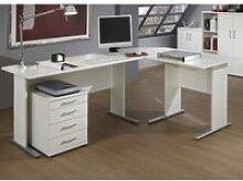 Schreibtisch Set STETTIN-16 weiß, Eckschreibtisch