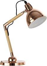 Schreibtischlampe aus Metall verkupfert