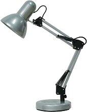 Schreibtischlampe E27, silber, Metall, Samson