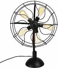 Schreibtischlampe Retro industrielle Wind-Ventilator-Lampe Nostalgie-Eisen-Schlafzimmer-Wohnzimmer-Beleuchtung-Ventilator-Tabellen-Lampe Nachtlicht ( Farbe : A )