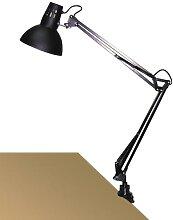 Schreibtischlampe schwarz, Metall, E27, klemmbar,