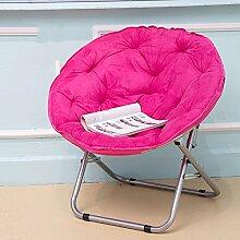 Schreibtischstühle Klappstuhl/Adult Moon Chair/Sonnenstuhl/Lazy Chair/Recliner/Klappstuhl/Round Chair/Sofa Stuhl/Plain Color Klappstuhl/faul Sofa (Farbe : Pink)