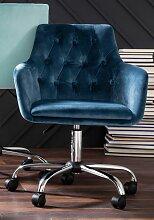Schreibtischstuhl Perry Samtstoff blau Drehstühle