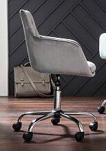 Schreibtischstuhl Perry Samtstoff grau Drehstühle