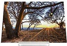 Schreibtischuhr Feng Shui Bild Bäume Meer Sonnenstrahlen Retro Nostalgie
