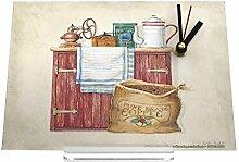 Schreibtischuhr Kaffee Kaffeemühle Kaffeebohnen Schrank Retro Nostalgie Deko