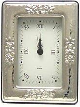 Schreibtischuhr Silber 925 Jugendstil Rose 9x13 cm