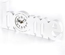 Schriftzug Home mit Uhr, weiß