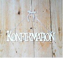Schriftzug Konfirmation ca. 9 x 39 cm, mit Schmuckbändern