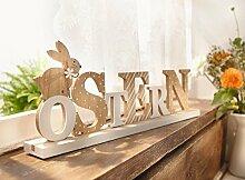 Schriftzug Ostern Dekoration Holz Osterhase Osterdeko 222463