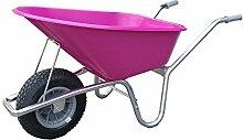 Schubkarre mit Kunststoffwanne pink 100 l, Gestell verzink