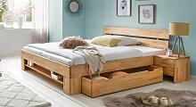 Schubkasten-Bett Valisia Massivholzbett stabil