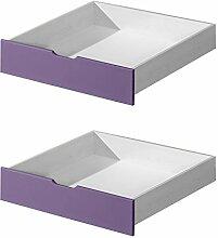 Schublade für Kinderbett / Jugendbett Milo 30, Farbe: Weiß / Lila, massiv - Abmessungen: 15 x 86 x 78 cm (H x B x T)