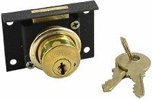 Schublade Schrank Metall Riegel Zylinder Sperren Lock Black Gold Tone